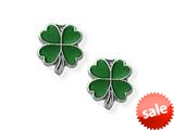 925 Sterling Silver Childrens Green 4 Leaf Clover Earrings style: 503382