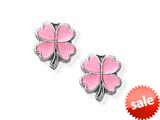925 Sterling Silver Childrens Pink 4 Leaf Clover Earrings