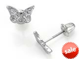 925 Sterling Silver Childrens Butterfly Earrings with White CZ`s