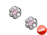 925 Sterling Silver Childrens Flower Earrings with Pink CZ`s