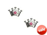 925 Sterling Silver Childrens Crown Earrings with a Pink CZ` style: 503386