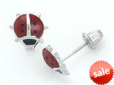 925 Sterling Silver Childrens Red and Black Ladybug Earrings