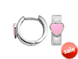 925 Sterling Silver Childrens Hoop Earrings with Pink Heart style: 503391