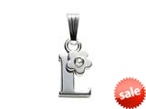 "925 Sterling Silver Childrens Letter ""L"" Charm Pendant with Diamond on 14 Inch Chain"