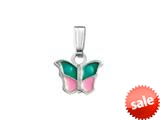 925 Sterling Silver Childrens Pink and Green Butterfly Pendant on 14 Inch Chain