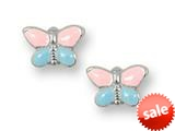 925 Sterling Silver Childrens Pink and Blue Butterfly Earrings
