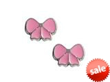 925 Sterling Silver Childrens Pink Ribbon Earrings