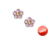 925 Sterling Silver Childrens Pink and Yellow Flower Earrings