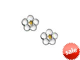 925 Sterling Silver Childrens White and Yellow Flower Earrings