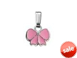 925 Sterling Silver Childrens Pink Ribbon Pendant on 14 Inch Chain style: 503415