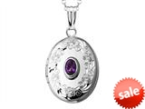 Sterling Silver Oval Locket Pendant with Genuine Amethyst February Birthstone style: 503444