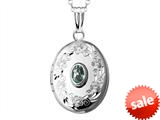Sterling Silver Oval Locket Pendant with Genuine Aquamarine March Birthstone style: 503445