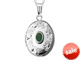 Sterling Silver Oval Locket Pendant with Genuine Emerald May Birthstone style: 503447