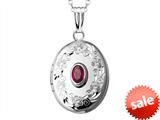 Sterling Silver Oval Locket Pendant with Genuine Ruby July Birthstone style: 503449