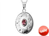 Sterling Silver Oval Locket Pendant with Genuine Pink Tourmaline October Birthstone style: 503452