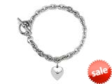 7 inch Sterling Silver Heart Charm Toggle Bracelet style: 50DB10