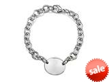 Sterling Silver 8 inches Oval Charm Bracelet style: 50DB24
