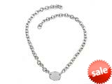 Sterling Silver 18 inches Oval Charm Necklace style: 50DB951