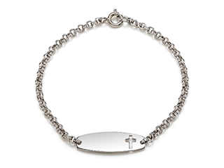 Sterling Silver Children Cross ID Bracelet