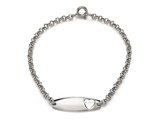 Sterling Silver Children Heart ID Bracelet