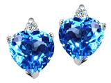 Tommaso Design Heart Shape 6mm Blue Topaz and Genuine Diamonds Earring Studs