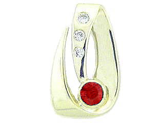 Tommaso Design™ Genuine Ruby and Diamond Pendant
