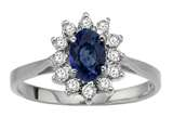 Tommaso Design™ Oval 7x5mm Genuine Sapphire and Diamond Ring