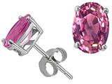 Tommaso Design Genuine Pink Tourmaline Oval Earring Studs