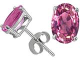 Tommaso Design Oval 8x6 mm Genuine Pink Tourmaline Earring Studs