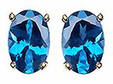 Tommaso Design Oval 8x6 mm Genuine Blue Topaz Earrings