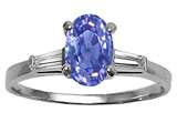 Tommaso Design™ Oval 7x5 mm Genuine Tanzanite and Diamond Engagement Ring