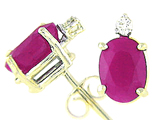 Tommaso Design Genuine Ruby and Diamond Earrings