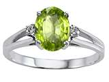 Tommaso Design™ Oval 8x6 mm Genuine Peridot and Diamond Ring