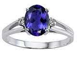 Tommaso Design™ Oval 8x6 mm Genuine Iolite and Diamond Ring style: 21770