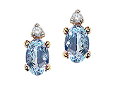 Tommaso Design™ Oval 6x4 mm Genuine Aquamarine and Diamond Earrings