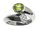 Tommaso Design™ Oval 7x5mm Genuine Peridot and Diamond Ring