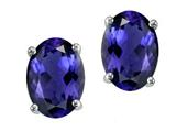 Tommaso Design Oval 7x5mm Genuine Iolite Earring Studs