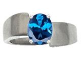 Tommaso Design Oval 9x7mm Genuine Blue Topaz Ring