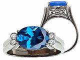 Tommaso Design Oval 10x8 mm Genuine Blue Topaz and Diamond Ring