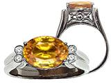 Tommaso Design™ Oval 10x8 mm Genuine Citrine and Diamond Ring