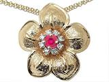 Genuine Ruby and Diamond Flower Pendant