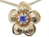 Genuine Sapphire and Diamond Flower Pendant