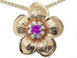 Genuine Amethyst and Diamond Flower Pendant
