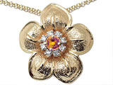 Genuine Citrine and Diamond Flower Pendant
