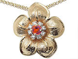 Genuine Garnet and Diamond Flower Pendant