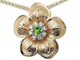 Genuine Peridot and Diamond Flower Pendant