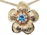 Genuine Blue Topaz and Diamond Flower Pendant