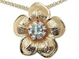 Genuine Aquamarine and Diamond Flower Pendant