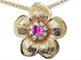 Genuine Pink Tourmaline and Diamond Flower Pendant