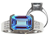 Tommaso Design Emerald Cut 9x7mm Genuine Blue Topaz and Diamond Ring